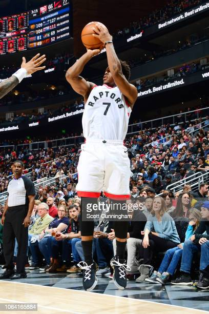 Kyle Lowry of the Toronto Raptors shoots the ball during the game against the Atlanta Hawks on November 21 2018 at the State Farm Arena in Atlanta...