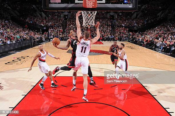 Kyle Lowry of the Toronto Raptors shoots the ball during the game against the Portland Trail Blazers on February 4 2016 at the Moda Center Arena in...