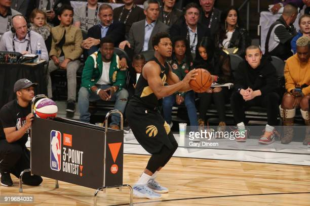 Kyle Lowry of the Toronto Raptors shoots the ball during the JBL ThreePoint Contest during State Farm AllStar Saturday Night as part of the 2018 NBA...