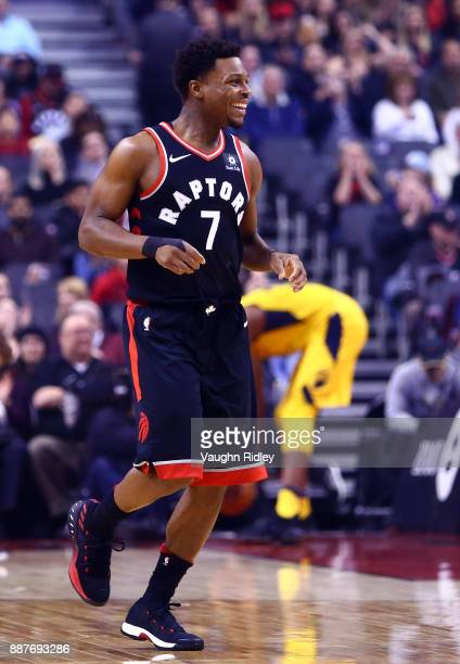 Kyle Lowry of the Toronto Raptors smiles during the first half of an NBA game against the Indiana Pacers at Air Canada Centre on December 1 2017 in...