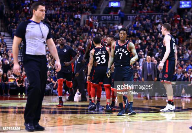 Kyle Lowry of the Toronto Raptors speaks to an official during the second half of an NBA game against the Indiana Pacers at Air Canada Centre on...