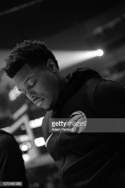 Kyle Lowry of the Toronto Raptors stands on the court for the National Anthem before the game against the LA Clippers on December 11 2018 at STAPLES...