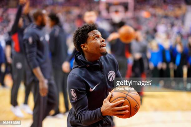 Kyle Lowry of the Toronto Raptors warms up before the game against the Oklahoma City Thunder on March 18 2018 at the Air Canada Centre in Toronto...