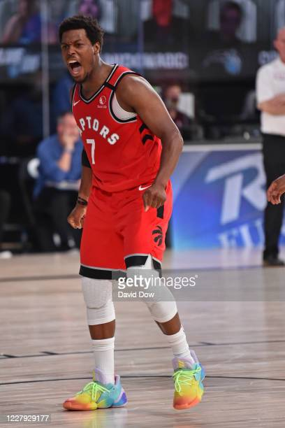 Kyle Lowry of the Toronto Raptors yells and celebrates against the Orlando Magic on August 5, 2020 in Orlando, Florida at Visa Athletic Center at...
