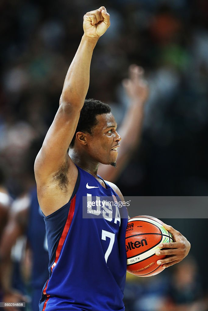 Kyle Lowry of the United States celebrates after the final match of the Men's basketball between Serbia and United States on day 16 at Carioca Arena 1 on August 21, 2016 in Rio de Janeiro, Brazil.