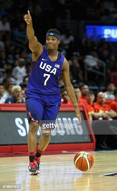 Kyle Lowry of the United States dribbles upcourt against China during the second half of a USA Basketball showcase exhibition game at Staples Center...