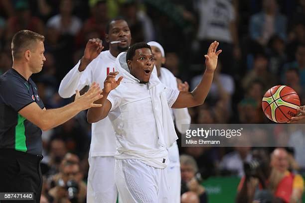 Kyle Lowry of United States celebrates during the Men's Priliminary Round between the United States and Venezuela on Day 3 of the Rio 2016 Olympic...