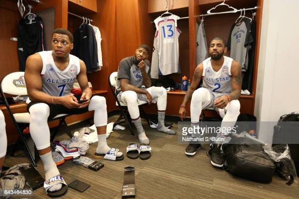 Kyle Lowry Paul George and Kyrie Irving or the Eastern Conference AllStars during the NBA AllStar Game as part of the 2017 NBA All Star Weekend on...