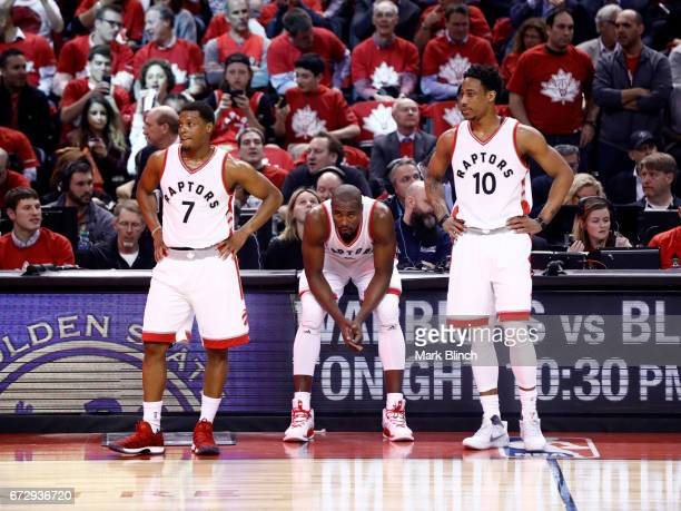 Kyle Lowry Serge Ibaka and DeMar DeRozan of the Toronto Raptors during the game against the Milwaukee Bucks during Game Five of the Eastern...