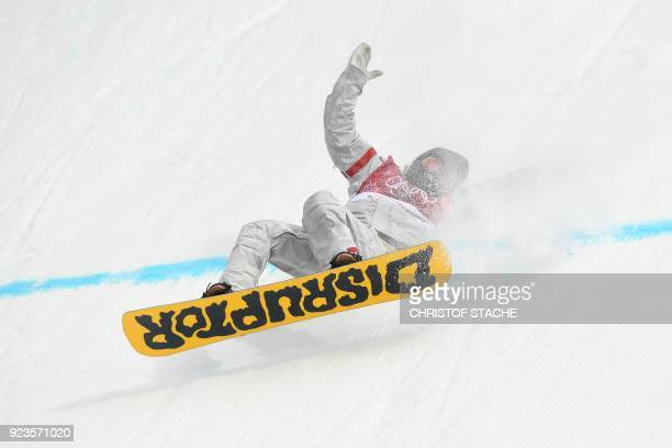 Kyle Mack falls during run 3 of the final of the men's snowboard big air event at the Alpensia Ski Jumping Centre during the Pyeongchang 2018 Winter...