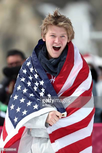 Kyle Mack of the United States celebrates winning the silver medal during the Men's Big Air Final on day 15 of the PyeongChang 2018 Winter Olympic...