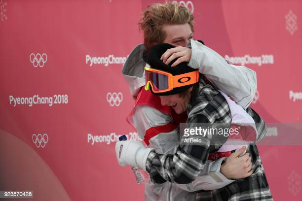 Kyle Mack of the United States is congratulated by teammate Redmond Gerard of the United States after winning the silver medal during the Men's Big...