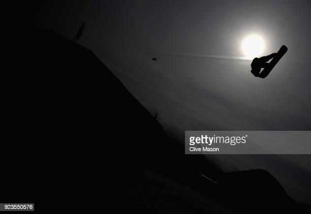 Kyle Mack of the United States practices prior to the Men's Big Air Final on day 15 of the PyeongChang 2018 Winter Olympic Games at Alpensia Ski...
