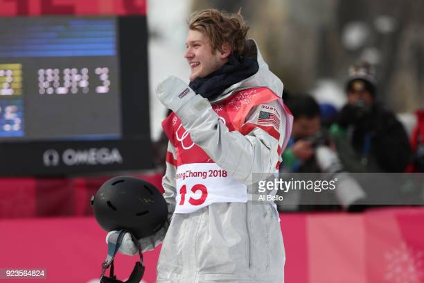 Kyle Mack of the United States reacts after his run during the Men's Big Air Final Run 3 on day 15 of the PyeongChang 2018 Winter Olympic Games at...