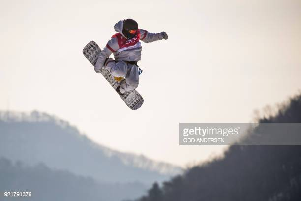 TOPSHOT Kyle Mack of the USA competes during the qualification of the men's snowboard big air event at the Alpensia Ski Jumping Centre during the...