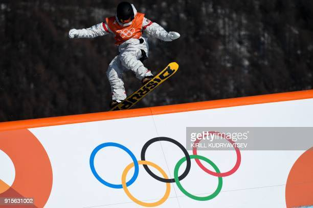 Kyle Mack takes part in a snowboard slopestyle training session on February 8 2018 at the Phoenix Park on the eve of the opening ceremony of the...