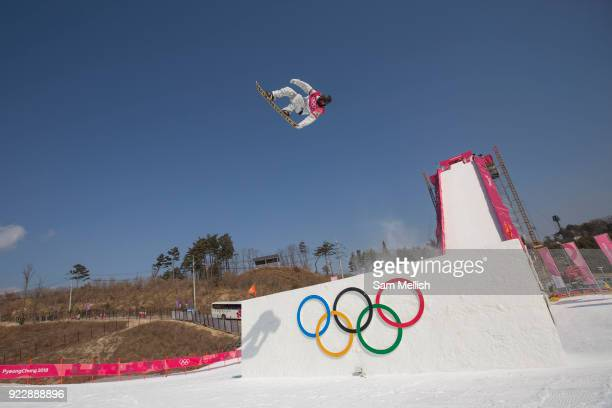 Kyle Mack USA during the men's snowboard big air practice at the Pyeongchang 2018 Winter Olympics on 22nd February 2018 at the Alpensia Ski Jumping...