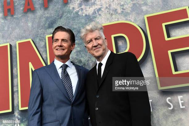 """Kyle MacLachlan and David Lynch attend the premiere of Showtime's """"Twin Peaks"""" at The Theatre at Ace Hotel on May 19, 2017 in Los Angeles, California."""