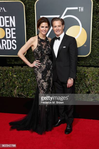 Kyle MacLachlan and Desiree Gruber attend The 75th Annual Golden Globe Awards at The Beverly Hilton Hotel on January 7 2018 in Beverly Hills...