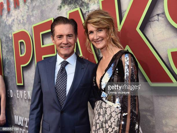"""Kyle MacLachlan and Laura Dern attend the premiere of Showtime's """"Twin Peaks"""" at The Theatre at Ace Hotel on May 19, 2017 in Los Angeles, California."""