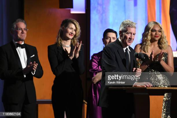 Kyle MacLachlan Laura Dern Isabella Rossellini and David Lynch speak onstage during the Academy Of Motion Picture Arts And Sciences' 11th Annual...