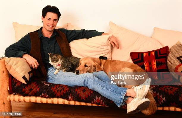 Kyle MacLachlan, star of Twin Peaks is photographed August 12, 1991with his pets in Beverly Hills, California