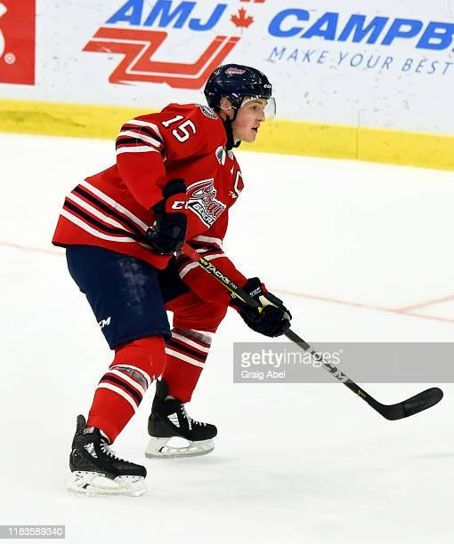 Kyle MacLean of the Oshawa Generals skates against the Mississauga Steelheads during game action on October 25, 2019 at Paramount Fine Foods Centre...