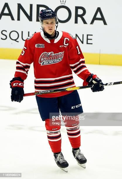 Kyle MacLean of the Oshawa Generals skates in warmup prior to a game against the Mississauga Steelheads on October 25, 2019 at Paramount Fine Foods...
