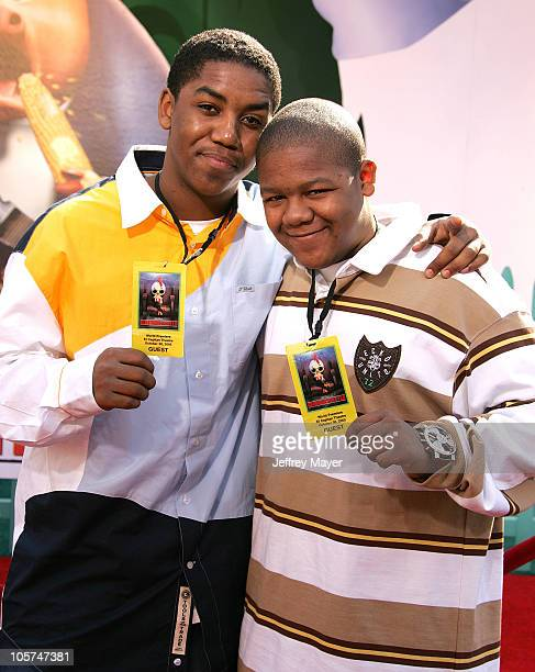 Kyle Massey and Christopher Massey during Disney's Chicken Little Los Angeles Premiere Arrivals at El Capitan in Hollywood California United States