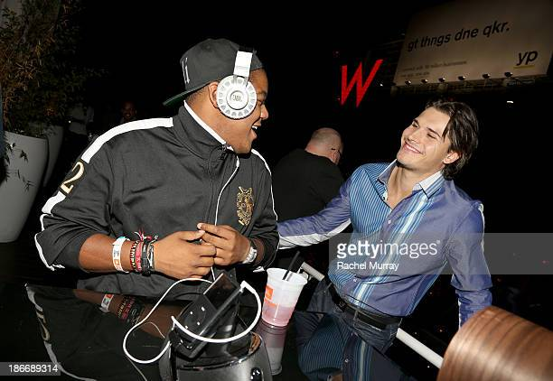 Kyle Massey and Gleb Savchenko attend JBL 'Dare to Listen' Synchros S700 Headphone Los Angeles launch with DJ Jermaine Dupri at W Hollywood on...