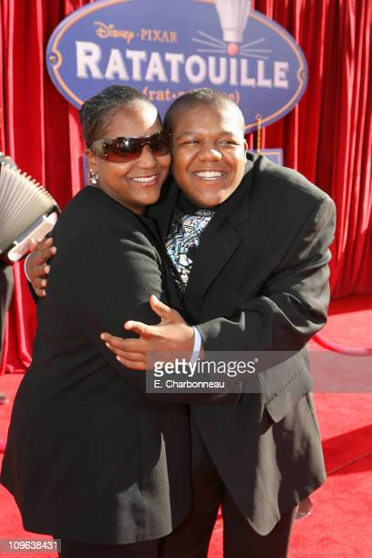Kyle Massey and mother during The World Premiere of Disney/Pixar's Ratatouille at Kodak Theater in Hollywood Calfornia United States
