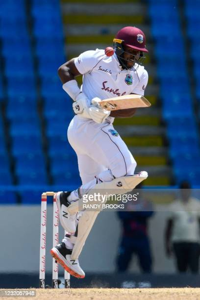 Kyle Mayers of West Indies hit on the shoulder by Dushmantha Chameera of Sri Lanka during day 4 of the 2nd Test between West Indies and Sri Lanka at...