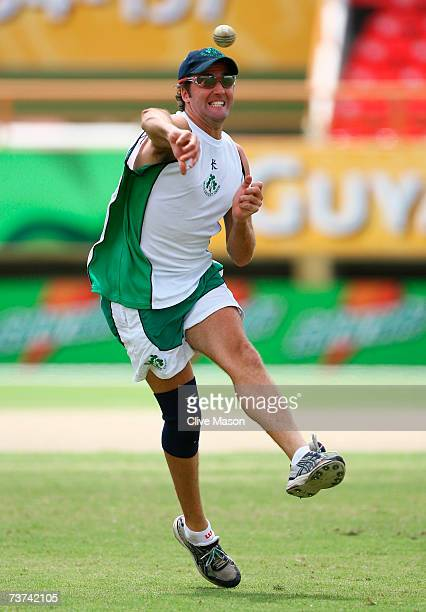 Kyle McCallan of Ireland throws the ball during an Ireland team training session at the Guyana National Stadium on March 29 2007 in Providence Guyana