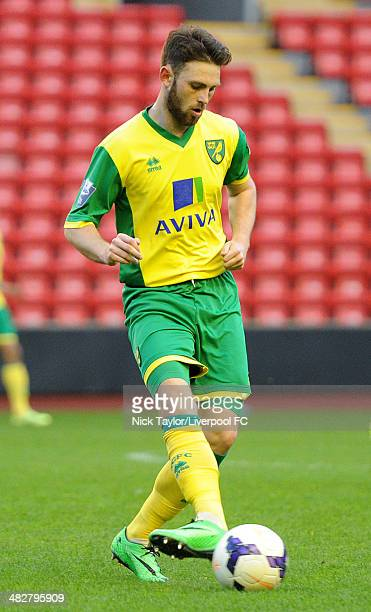 Kyle McFadden of Norwich in action during the Barclays Premier League Under 21 fixture between Liverpool and Norwich City at Anfield on April 4 in...