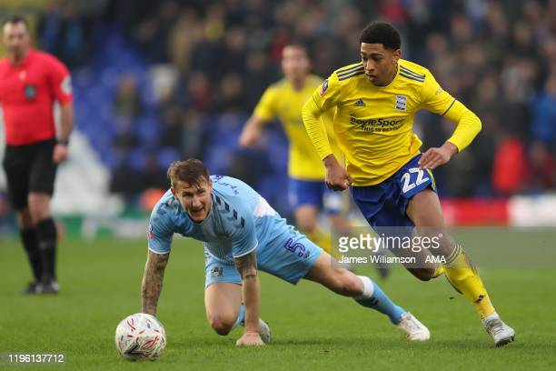 Kyle McFadzean of Coventry City and Jude Bellingham of Birmingham City during the FA Cup Fourth Round match between Coventry City and Birmingham City...