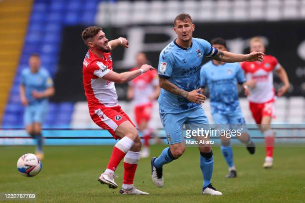 Kyle McFadzean of Coventry City in action with Tom Bradshaw of Millwall during the Sky Bet Championship match between Coventry City and Millwall at...