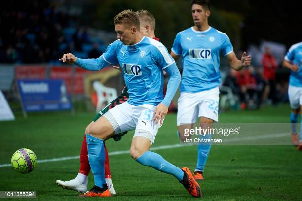 Kyle McLagan of FC Roskilde in action during the Danish SYDBANK Pokalen Cup match between FC Roskilde and AaB Aalborg at Roskilde Idratspark on...