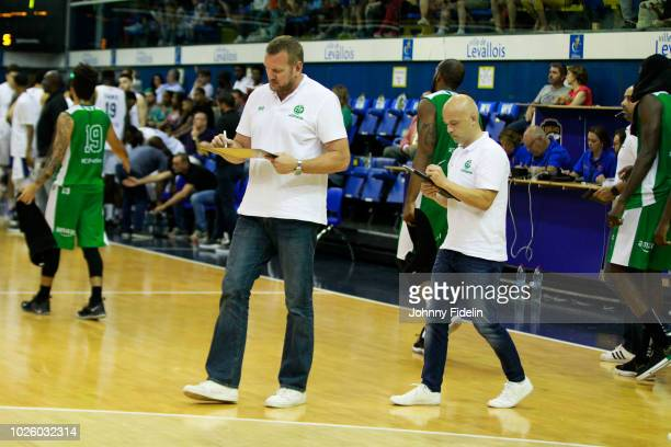 Kyle Milling head coach and Francois Perronet assistant coach of Limoges during the Trophy Michael Brooks match between Levallois Metropolitans and...
