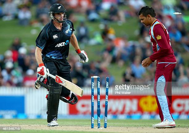 Kyle Mills of New Zealand is run out during game five of the One Day International Series between New Zealand and the West Indies at Seddon Park on...