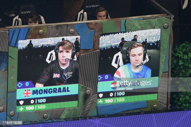 "Kyle ""Mongraal"" Jackson and Dmitri ""Mitr0"" Van de Vrie prepare for gameplay during day two of the Fortnite World Cup Finals at Arthur Ashe Stadium on..."