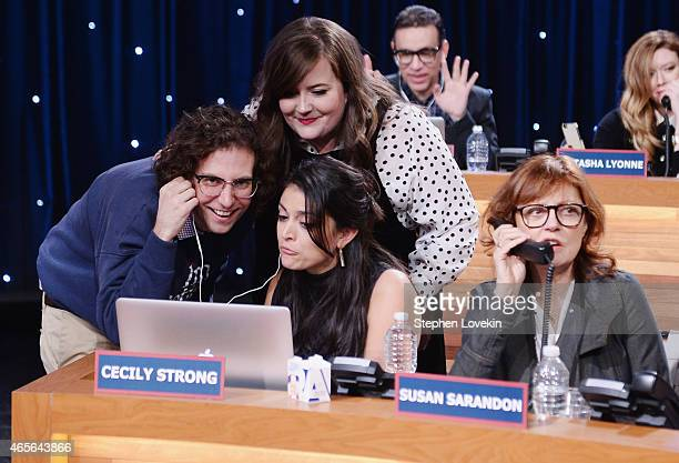 Kyle Mooney Aidy Bryant Cecily Strong and Susan Sarandon attend The Night Of Too Many Start Live Telethon on March 8 2015 in New York City
