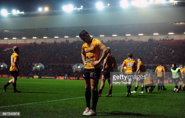 Kyle Moyle of Cornish Pirates cuts a dejected figures after conceeding a try during the Greene King IPA Championship match between Bristol Rugby and...
