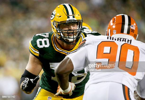 Kyle Murphy of the Green Bay Packers battles against Emmanuel Ogbah of the Cleveland Browns in the second quarter at Lambeau Field on August 12 2016...