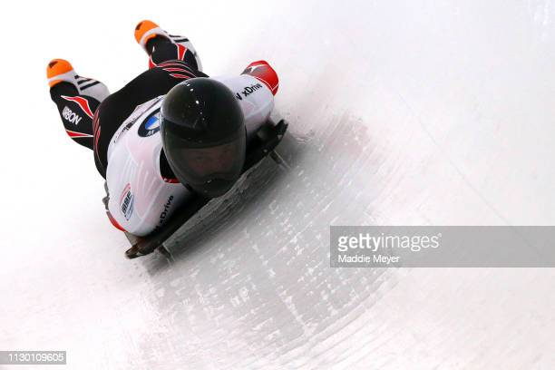Kyle Murray of Canada slides during the first run of the Men's Skeleton on day 2 of the 2019 IBSF World Cup Bobsled & Skeleton at the Mount Van...