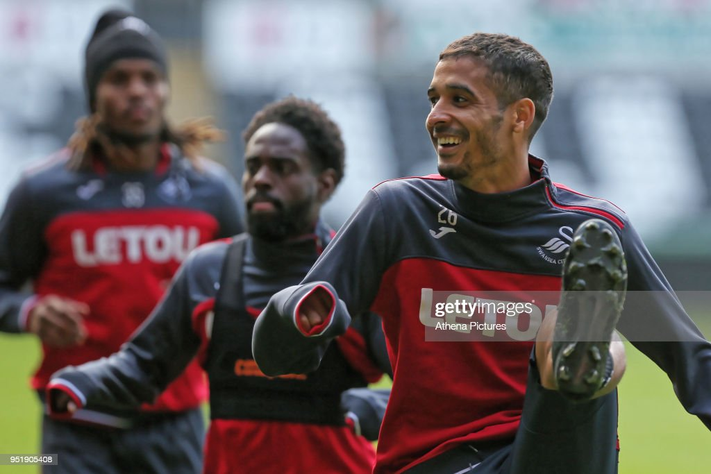 Kyle Naughton (R) in action during the Swansea City Training at The Liberty Stadium on April 26, 2018 in Swansea, Wales.