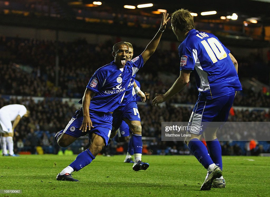 Kyle Naughton of Leicester celebrates his goal during the npower Championship match between Leeds United and Leicester City at Elland Road on October 19, 2010 in Leeds, England.