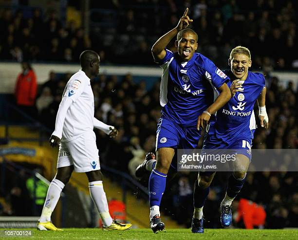 Kyle Naughton of Leicester celebrates his goal during the npower Championship match between Leeds United and Leicester City at Elland Road on October...