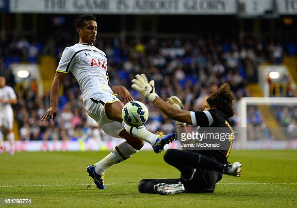 Kyle Naughton of Spurs is brought down in the area by Karim Fegrouche of AEL Limassol to win a penalty during the UEFA Europa League Qualifying...