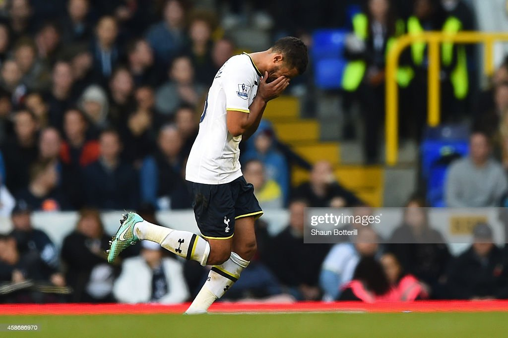 Kyle Naughton of Spurs reacts as he leaves the field after being shown the red card during the Barclays Premier League match between Tottenham Hotspur and Stoke City at White Hart Lane on November 9, 2014 in London, England.