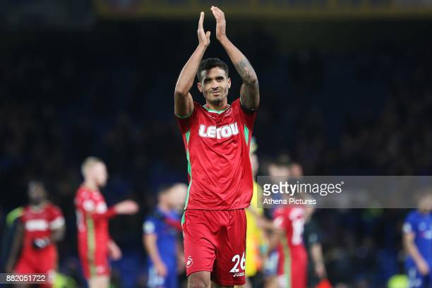 Kyle Naughton of Swansea City after the final whistle of the Premier League match between Chelsea and Swansea City at Stamford Bridge on November 29...